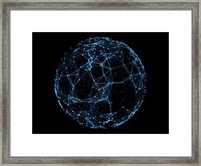 Abstract Sphere Geometry Orb And Polygonal Lines And Dots. Futuristic Technology Framed Print by Michal Steflovic