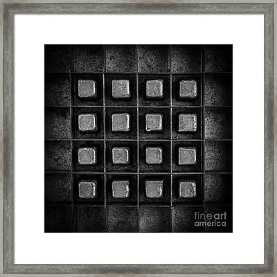 Abstract Squares Black And White Framed Print by Edward Fielding