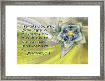 Abstract Star Deuteronomy 31 V 6 Framed Print by Linda Phelps