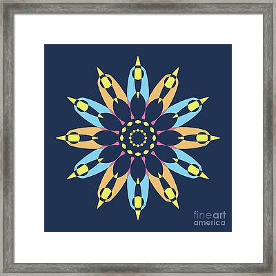 Abstract Star On Blue Square Framed Print by Pablo Franchi