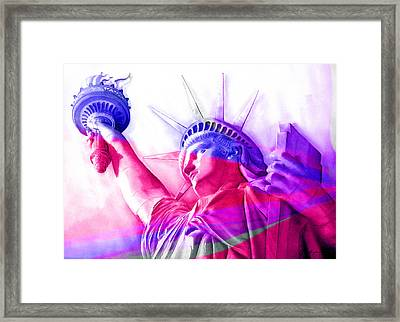 Framed Print featuring the painting Abstract Statue Of Liberty 7 by J- J- Espinoza