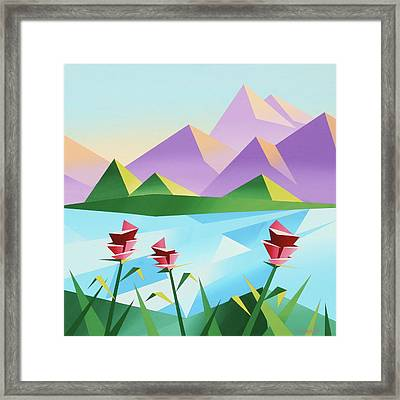 Abstract Sunrise At The Mountain Lake 2 Framed Print by Mark Webster