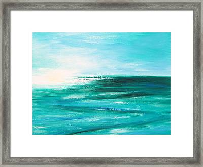 Abstract Sunset In Blue And Green 2 Framed Print by Gina De Gorna