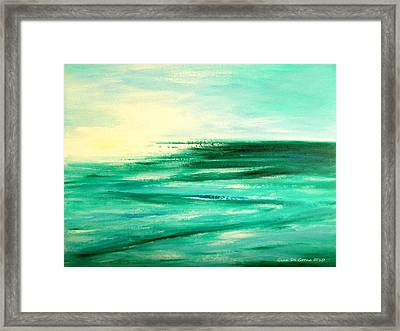 Abstract Sunset In Blue And Green Framed Print by Gina De Gorna