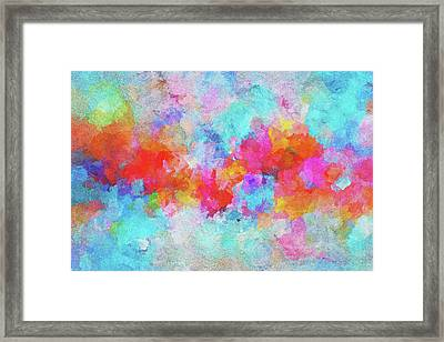 Framed Print featuring the painting Abstract Sunset Painting With Colorful Clouds Over The Ocean by Ayse Deniz