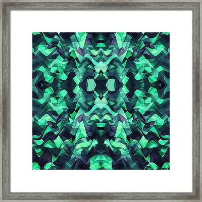Abstract Surreal Chaos Theory In Modern Poison Turquoise Green Framed Print
