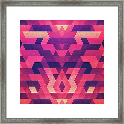Abstract Symertric Geometric Triangle Texture Pattern Design In Diabolic Magnet Future Red Framed Print by Philipp Rietz