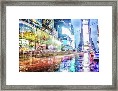 Abstract Times Square Framed Print