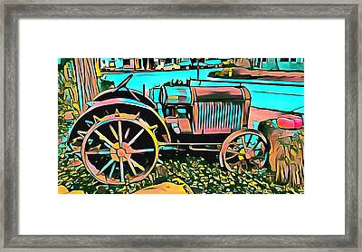 Framed Print featuring the digital art Abstract Tractor Los Olivos California by Floyd Snyder