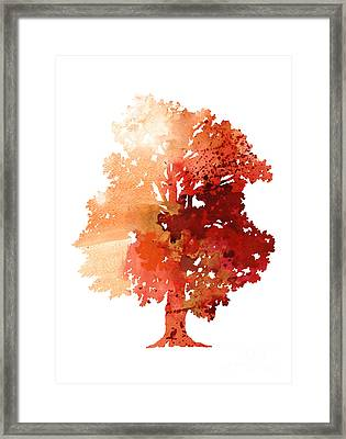 Abstract Tree Watercolor Poster Framed Print
