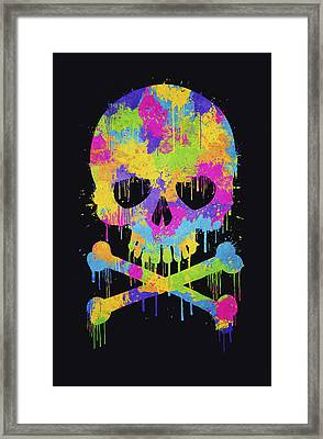Abstract Trendy Graffiti Watercolor Skull  Framed Print by Philipp Rietz