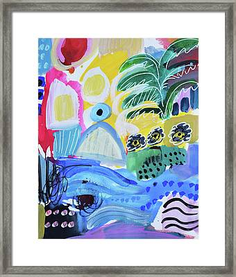 Abstract Tropical Landscape Framed Print by Amara Dacer