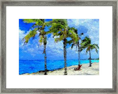 Abstract Tropical Palm Beach Framed Print by Anthony Fishburne