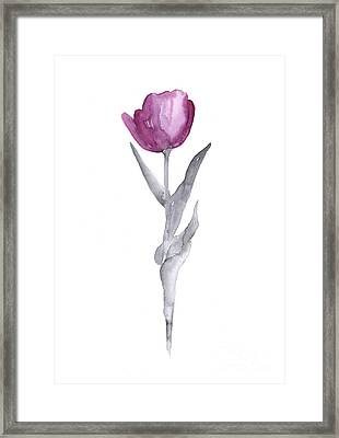 Abstract Tulip Flower Watercolor Painting Framed Print