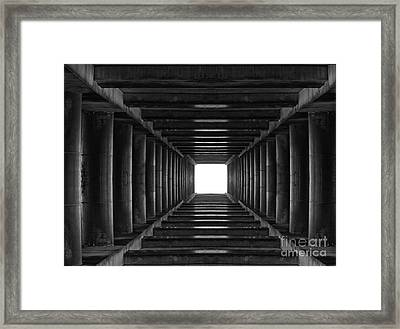 Abstract Tunnel With Light In The End Framed Print by Caio Caldas
