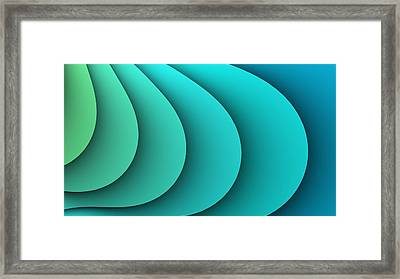Abstract Turquoise Fractal Framed Print by Marina Likholat
