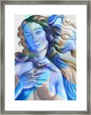 Framed Print featuring the painting Abstract Venus Birth 4 by J- J- Espinoza