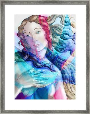 Framed Print featuring the painting Abstract Venus Birth 6 by J- J- Espinoza
