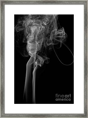 Abstract Vertical Monochrome White Mood Colored Smoke Wall Art 02 Framed Print