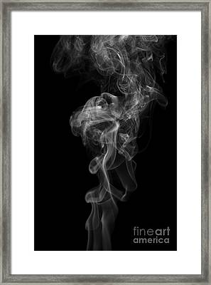 Abstract Vertical Monochrome White Mood Colored Smoke Wall Art 03 Framed Print