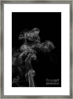 Abstract Vertical Monochrome White Mood Colored Smoke Wall Art 04 Framed Print