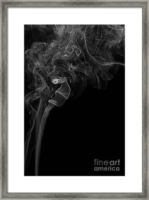 Abstract Vertical Monochrome White Mood Colored Smoke Wall Art 05 Framed Print