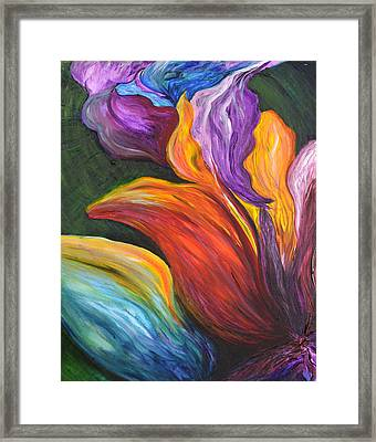 Abstract Vibrant Flowers Framed Print