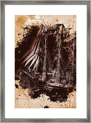 Abstract Vintage Ship And Old World Paper Map Framed Print by Jorgo Photography - Wall Art Gallery