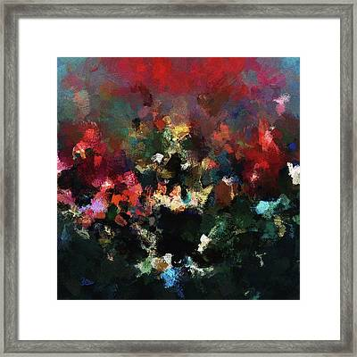 Framed Print featuring the painting Abstract Wall Art In Dark Colors by Ayse Deniz