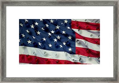 Abstract Water Drops On Usa Flag Framed Print by Georgeta Blanaru