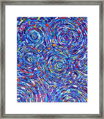 Abstract Water Ripples Contemporary Impressionist Palette Knife Oil Painting By Ana Maria Edulescu Framed Print by Ana Maria Edulescu