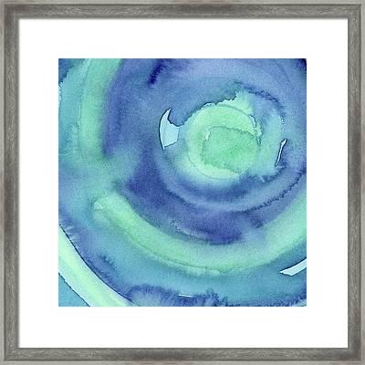 Abstract Watercolor Aqua Blues Framed Print