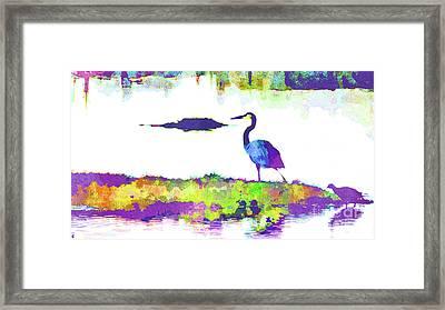Abstract Watercolor - Florida Heron Framed Print
