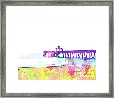 Abstract Watercolor - Pier At Dusk Framed Print