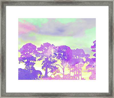 Abstract Watercolor - Sunset Trees Framed Print