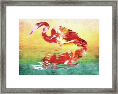Abstract Whimsical Water Bird Framed Print