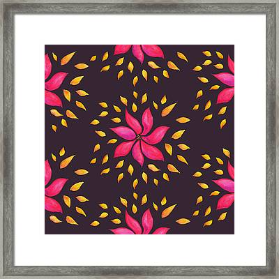 Abstract Whimsical Watercolor Pink Flower Framed Print