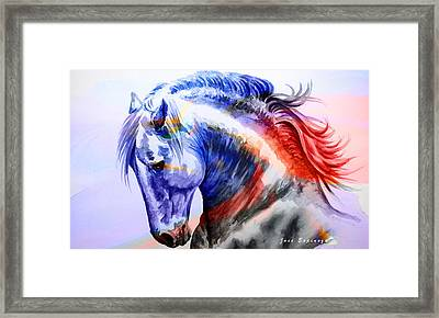 Framed Print featuring the painting Abstract White Horse 44 by J- J- Espinoza