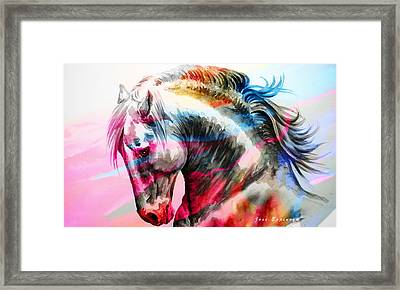 Framed Print featuring the painting Abstract White Horse 45 by J- J- Espinoza