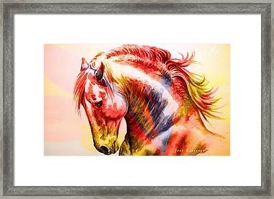 Framed Print featuring the painting Abstract White Horse 46 by J- J- Espinoza