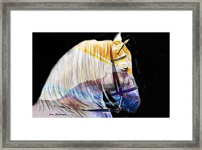 Framed Print featuring the painting Abstract White Horse 50 by J- J- Espinoza