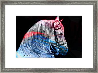 Framed Print featuring the painting Abstract White Horse 53 by J- J- Espinoza