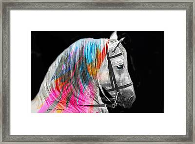 Framed Print featuring the painting Abstract White Horse 54 by J- J- Espinoza