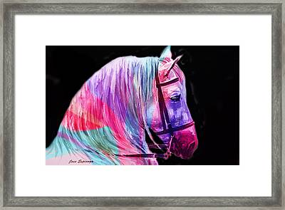 Framed Print featuring the painting Abstract White Horse 55 by J- J- Espinoza