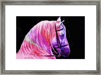 Framed Print featuring the painting Abstract White Horse 56 by J- J- Espinoza
