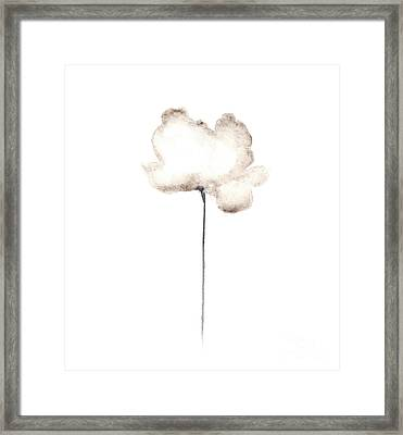 Abstract White Poppy Watercolor Art Print Painting Framed Print by Joanna Szmerdt