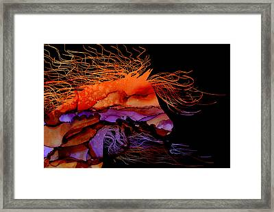 Abstract Wild Horse - Vibrant Purple And Orange Framed Print by Michelle Wrighton