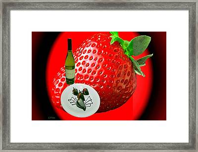 Abstract Wine And Strawberries Framed Print by Lj White