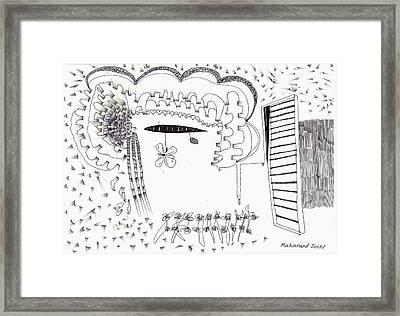 Abstract With A Flying Machine Framed Print by Makarand Joshi