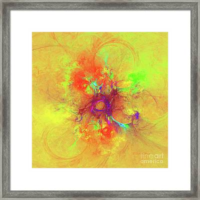 Abstract With Yellow Framed Print by Deborah Benoit